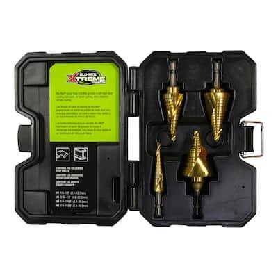 4-Pcs Cobalt Spiral Step Drill Premium Kit(1/8 in. - 1/2 in.,3/16 in. - 7/8 in.,1/4 in. - 1-1/8 in.,1/4 in. - 1-3/8 in.)