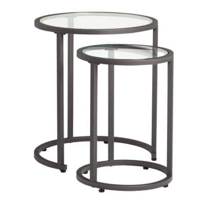 Camber Modern 20 in. and 14.5 in. Round Set of Nesting Tables with Metal Frame and Tempered Glass