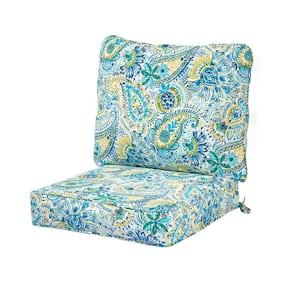 Baltic Paisley 2-Piece Deep Seating Outdoor Lounge Chair Cushion Set