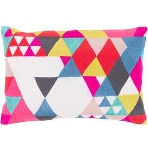 Atlassan White Geometric Polyester 19 in. x 13 in. Throw Pillow