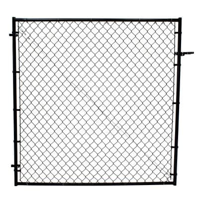 6 ft. H Adjustable Walk Gate Kit, Square Corner Frame - Black