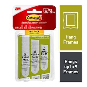 Assorted Sizes White Picture Hanging Adhesive Strips Big Pack (8 Large Pairs, 6 Medium Pairs, 4 Small Pairs)