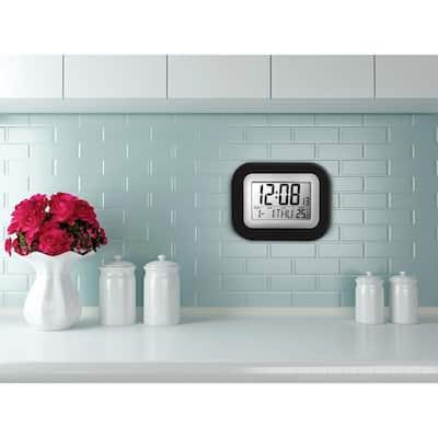 Digital Black and Gray Wall Clock