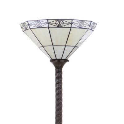 Moore Tiffany-Style 68.57 in. Bronze Torchiere Floor Lamp
