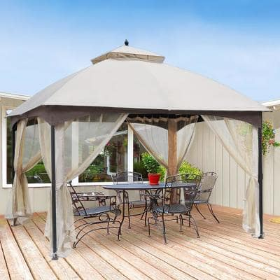 10 ft. x 12 ft. Beige Soft Top Steel/Metal Outdoor Patio Gazebo