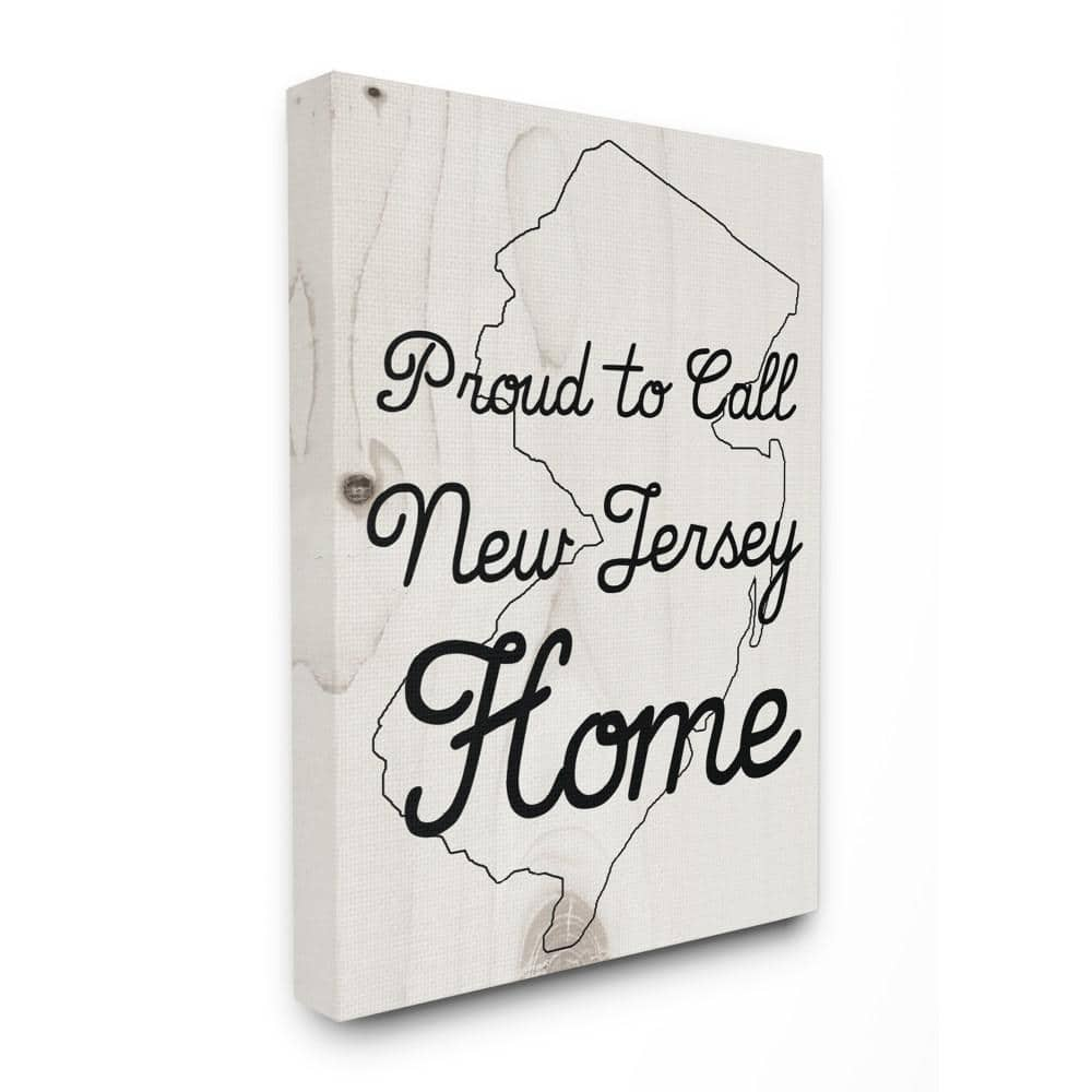 The Stupell Home Decor Collection 16 In X 20 In Wood Texture Proud To Call New Jersey Home By Daphne Polselli Canvas Wall Art Cw 1420 Cn 16x20 The Home Depot