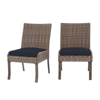 Windsor Brown Wicker Outdoor Patio Stationary Armless Dining Chair w/ CushionGuard Midnight Navy Blue Cushions (2-Pack)