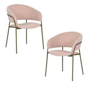 Dining Chairs Pink Upholstered Arm Chair (Set of 2)