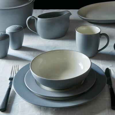 Colorwave Slate Grey Stoneware Rim 4-Piece Place Setting (Service for 1)
