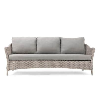 Laurel Weathered Brown Wicker Outdoor Sofa with Sunbrella Cast Shale Cushions