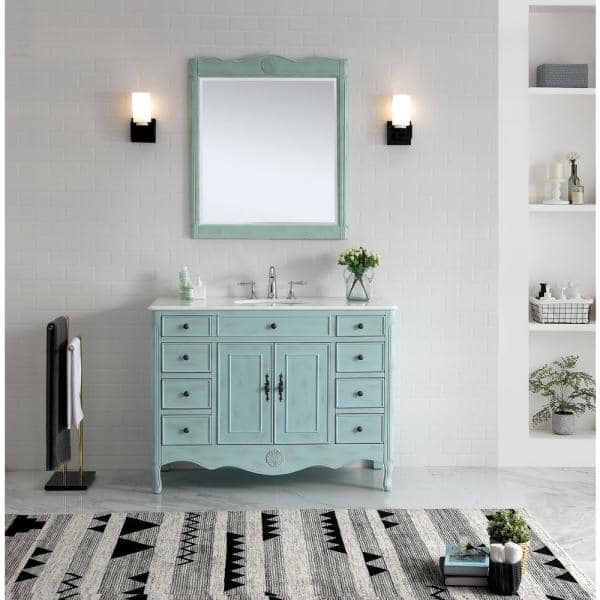 Provence 46 5 In W X 21 In D Bath Vanity In Light Blue With Marble Vanity Top In White With White Basin Mod081lb 47 The Home Depot