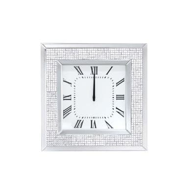 White Mirror Framed Wooden Analog Wall Clock with Crystal Accents