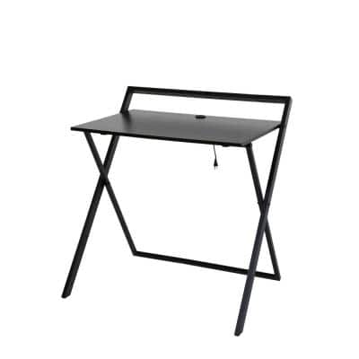 33 in. Rectangular Black/Dark Brown Writing Desk with Adjustable Height Feature