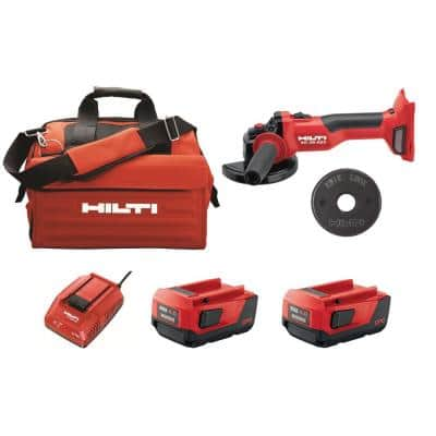 AG-4S 22-Volt Lithium-Ion Cordless 4-1/2 in. Brushless Angle Grinder with Kwik Lock, Battery Pack, Charger and Bag