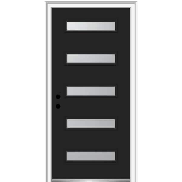 Mmi Door 36 In X 80 In Davina Right Hand Inswing 5 Lite Frosted Glass Painted Steel Prehung Front Door On 6 9 16 In Frame Z0355858r The Home Depot