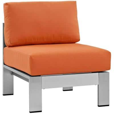 Shore Armless Patio Aluminum Outdoor Lounge Chair in Silver with Orange Cushions