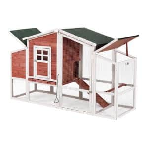 Wooden Chicken Coop Rabbit House Wooden Small Animal Cage Bunny Hutch with Ramp and Tray