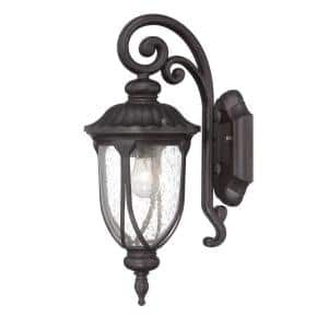 Laurens Collection 1-Light Black Coral Outdoor Wall Lantern Sconce