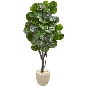 Indoor 67 Fiddle Leaf Fig Artificial Tree in Sand Stone Planter