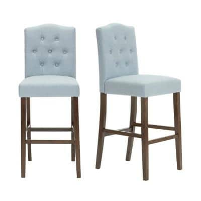 Beckridge Walnut Wood Upholstered Bar Stool with Tufted Back Light Blue Seat (Set of 2) (18.11 in. W x 46.06 in. H)