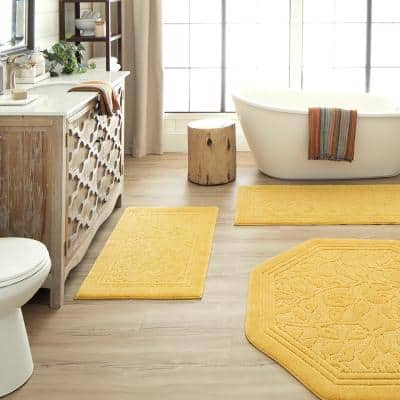 Wellington 24 in. x 40 in. Nylon Machine Washable Bath Mat in Gold