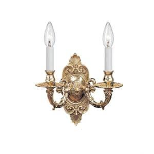 Polished Brass Cast Brass Wall Mount 2-Light Sconce