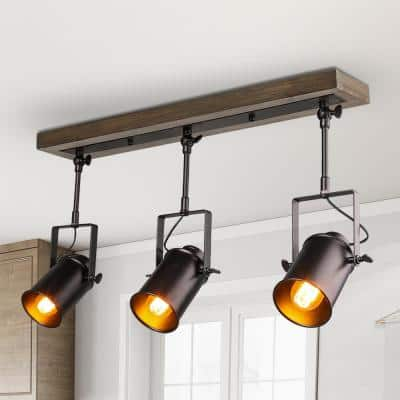 Farmhouse 2 ft. 3-Light Texture Black Spotlights Track Lighting Kit Wood Canopy