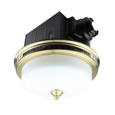 Decorative 110 CFM Ceiling Bathroom Exhaust Fan with Glass and Night Light in Brushed Gold