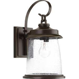 Conover Collection 1-Light Antique Bronze Clear Seeded Glass Farmhouse Outdoor Medium Wall Lantern Light