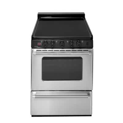 24 in. 2.97 cu. ft. Freestanding Smooth Top Electric Range in Stainless Steel