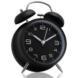 Non-Ticking 4'' Twin Bell Alarm Clock Metal Frame 3D Dial Desk Table Clock for Home and Office Black