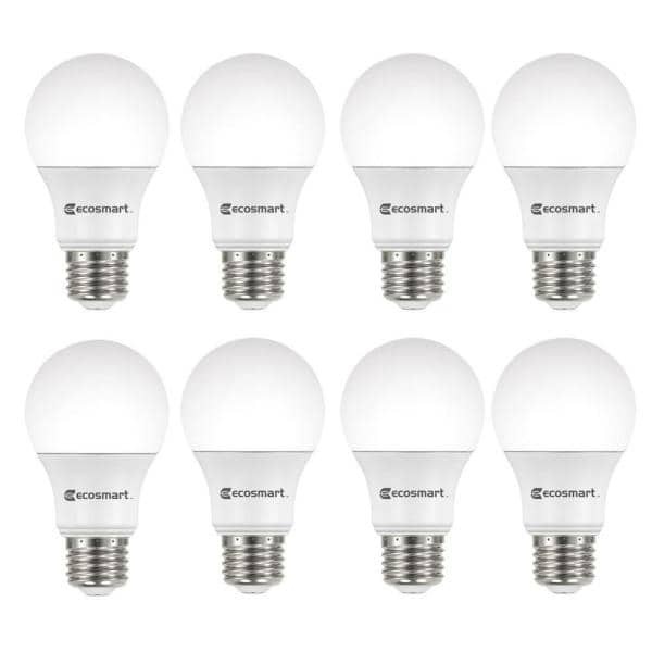 Ecosmart 60 Watt Equivalent A19 Non Dimmable Cec Led Light Bulb Soft White 8 Pack A9a19a60wt2048 The Home Depot