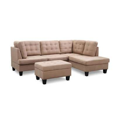 Eden 2-Piece Beige Microfiber 3-Seater L-Shaped Sectional Sofa with Removable Cushions