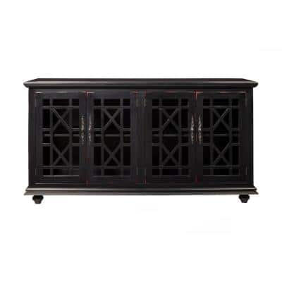 Elegant Black Glass TV Stand Fits TVs Up to 65 in. with Cable Management