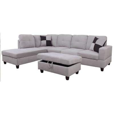 3-Piece Gray Microfiber 4-Seater L-Shaped Left-Facing Chaise Sectional Sofa with Ottoman