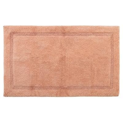 Regency 50 in. x 30 in. Cotton Coral Latex Spray Non-Skid Backing Textured Border Machine Washable Bath Rug