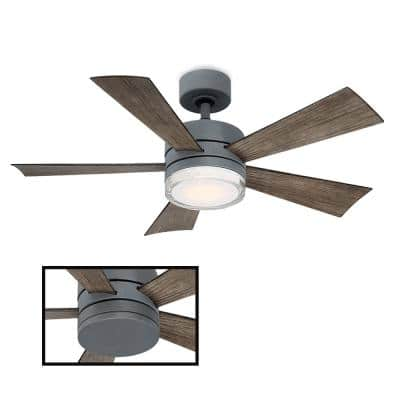 Wynd 42 in. LED Indoor/Outdoor Graphite 5-Blade Smart Ceiling Fan with 3000K Light Kit and Remote