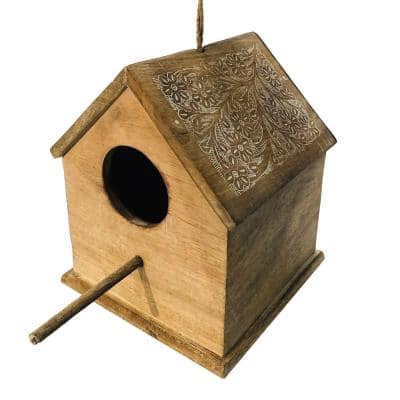 Distressed Brown Hut Shape Decorative Mango Wood Hanging Bird House with Engraved Details