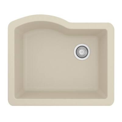 Undermount Quartz Composite 24 in. Single Bowl Kitchen Sink in Bisque