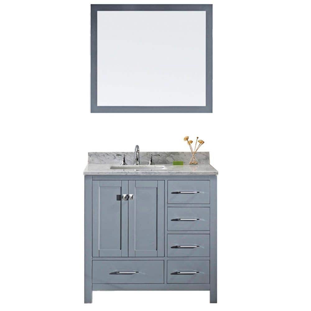 Virtu Usa Caroline Avenue 36 In W Bath Vanity In Gray With Marble Vanity Top In White With Square Basin And Mirror Gs 50036 Wmsq Gr The Home Depot