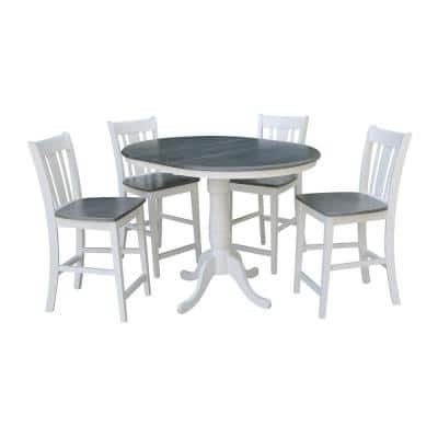 Laurel 5-Piece 36 in. White/Heather Gray Extendable Solid Wood Counter Height Dining Set with San Remo Stools