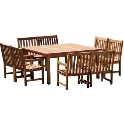Milano Deluxe 9-Piece Eucalyptus Wood Square Patio Dining Set
