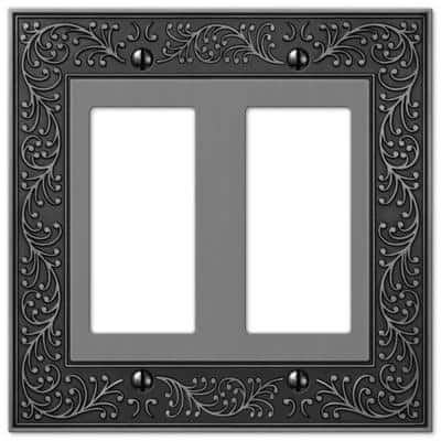 English Garden 2 Gang Rocker Metal Wall Plate - Antique Nickel