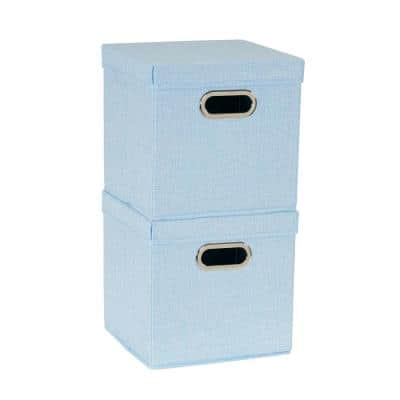 11 in. H x 11 in. W x 11 in. D Blue Fabric Cube Storage Bin 2-Pack