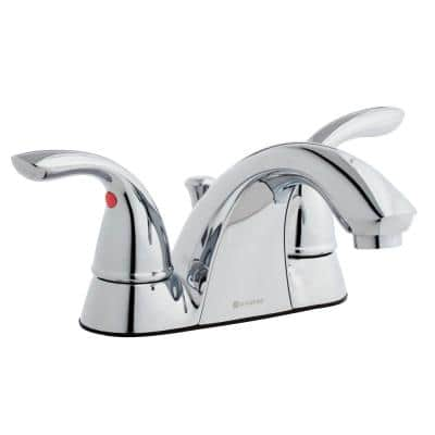Builders 4 in. Centerset 2-Handle Low-Arc Bathroom Faucet in Chrome