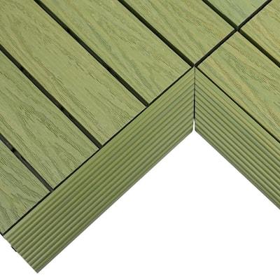 1/6 ft. x 1 ft. Quick Deck Composite Deck Tile Inside Corner Fascia in Irish Green (2-Pieces/Box)