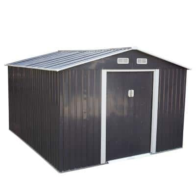 9.1 ft. W x 10.5 ft. D Metal Storage Shed Garden Tool Storage Outdoor House with Sliding Door (95.55 sq. ft.)