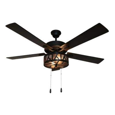 Regal 52 in. LED Oil Rubbed Bronze Caged LED Ceiling Fan With Light