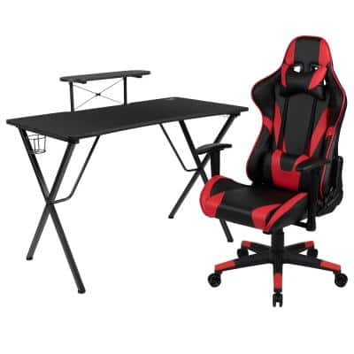51.5 in. Rectangular Red Computer Desk