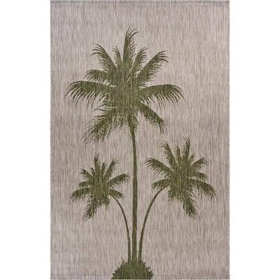Catalina Beige/Green 7 ft. 9 in. x 9 ft. 9 in. Tropical Palm Breeze Indoor/Outdoor Area Rug